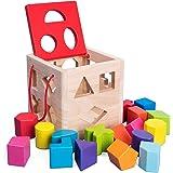 Bebamour Shape Sorter Toys with Colorful Wood Geometric Shape Blocks and Sorter Sorting Cube Box Classic Wooden Developmental