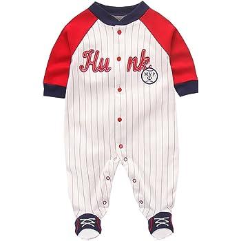 76d02adb11ac4 Fairy Baby 野球ユニフォーム ロンパース ベビー服 男の子 足つき 長袖 前開き お出かけ服 縞柄 size 66