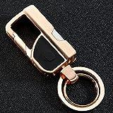 ZooooM ダブルリング キーホルダー キーリング カラビナ フック ファッション デザイン メンズ 男性 車 鍵 キー おしゃれ 小物 多機能 LEDライト (ゴールド) ZM-JOBO307-GD