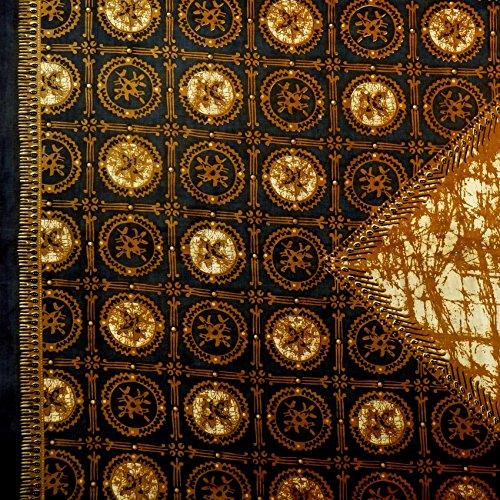 Pajung Prijaji インドネシア バティック ジャワ更紗(プリント) 紋章のモチーフ ブラックネイビー × ブラウン [並行輸入品]