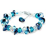 S925 Sterling Silver Heart Shaped Cut AAA Titanic Ocean Blue Swarovski Elements Crystal Bracelet