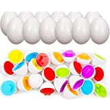 Jofan 12 Pack Color Shape Matching Eggs STEM Toys Educational Toy Easter Eggs for Kids Toddlers Easter Basket Stuffers Gifts