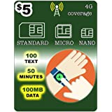 $5 SmartWatch SIM Card for 3G 4G LTE GSM Smart Watch & Wearables-Roaming Available