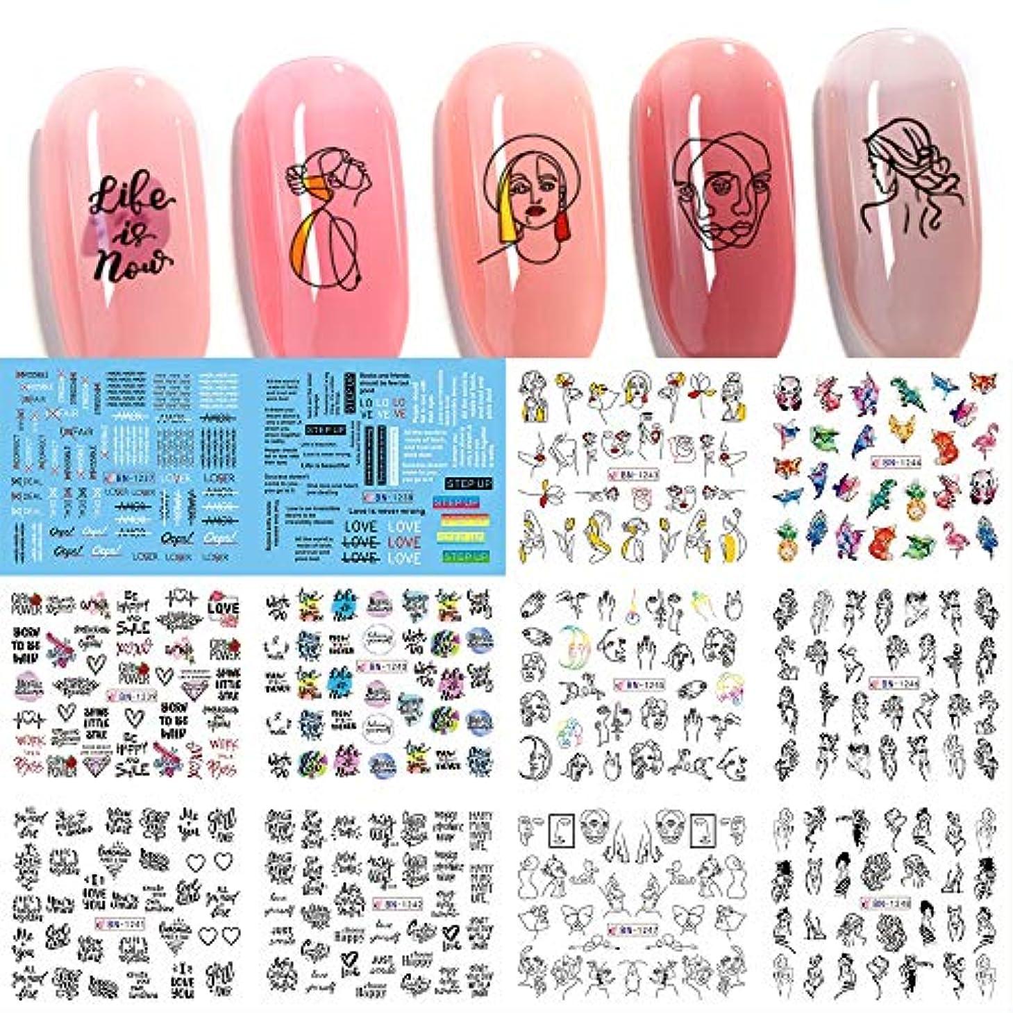 野心提供された汚染された12デザイン線画水転写ステッカーセットネイルアートデカールセクシーな女性ローズ落書き抽象マニキュアデコレーションネイルアートデカール女の子大人子供ネイルデカールマニキュアデコレーション