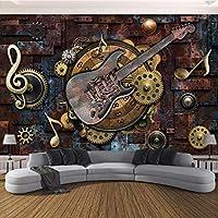 Hanhantang 3Dレトロギター音楽Ktvレストランの背景壁紙壁画壁アート壁画-250X175Cm