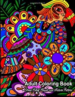Stress Relief Flower and Nature Pattern Adult Coloring Book