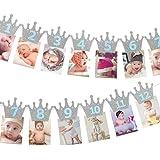 Kingsie ガーランド 誕生日 バナー クラウン キラキラ 写真クリップ 1歳 12月 誕生日飾り 壁飾り パーテイ…