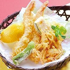 天ぷら4種類の盛合せ(えび2匹、南瓜、ししとう、野菜のかき揚げ)