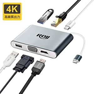 USB C ハブThunderbolt3 対応 RDII Type-C タイプC充電 Hub HDMI/VGA/LAN/RJ45出力 2つの高速USB3.0ポート付きコンパクト MacBook Pro 2016/2017/Chromebook//IMAC2017などUSB-Cデバイス対応(グレー)