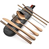 Travel Cutlery Set | Portable Camping Utensils Set Including Knife Fork Spoons Straws Chopsticks Cleaning Brush, Reusable Tra