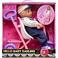 Pushing Tricycle Baby Darling Doll Playset - White, Pink, Purple