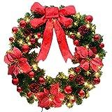 WitkeyCos クリスマス リース 玄関 大きい 飾り led ドア ゴージャス かわいい キット 材料 モダン 40cm 手作り 手作りキット 材料 シンプル あじさい つた りんご 30cm 40 50cm 50 60cm 80cm 90cm Christmas wreath 60CM レッド