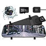 ミラー型 ドライブレコーダー 前後カメラ 1296P高画質 32GBカード付属 Sony IMX335センサー10インチ タッチパネル 1080P FHDフルHD 前170°後150°広角レンズ GPS搭載 超大きフルスクリーン 超鮮明夜間撮影 ドラ
