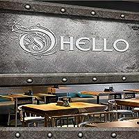 Weaeo カスタムヨーロッパとアメリカの産業スタイルHelloセメント壁のバーコーヒーショップの壁紙の壁紙のテクスチャモダン-350X250Cm