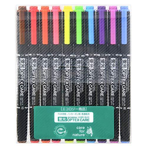 ゼブラ 蛍光ペン オプテックスケア 10色セット WKCR1-10C