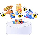 SHAMI Winnie Happy birthday Day The Pooh Pooh Bear Cake Topper Bumble Bee Cupcake Toppers for Bee Themed Happy Birthday Party