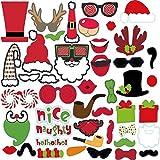 フォトプロップス 撮影用小道具 披露宴/結婚式/誕生日パーティー/クリスマスパーティー用品 木製 紙製 クリスマスのすばらしい雰囲気に溢れる 45枚セット スティック/のり付け