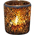 Mobestech 2pcs Mosaic Candlestick Amber Glass Scented Candle Holder Tealight Cup for Valentine's Day's Day Anniversary Weddin