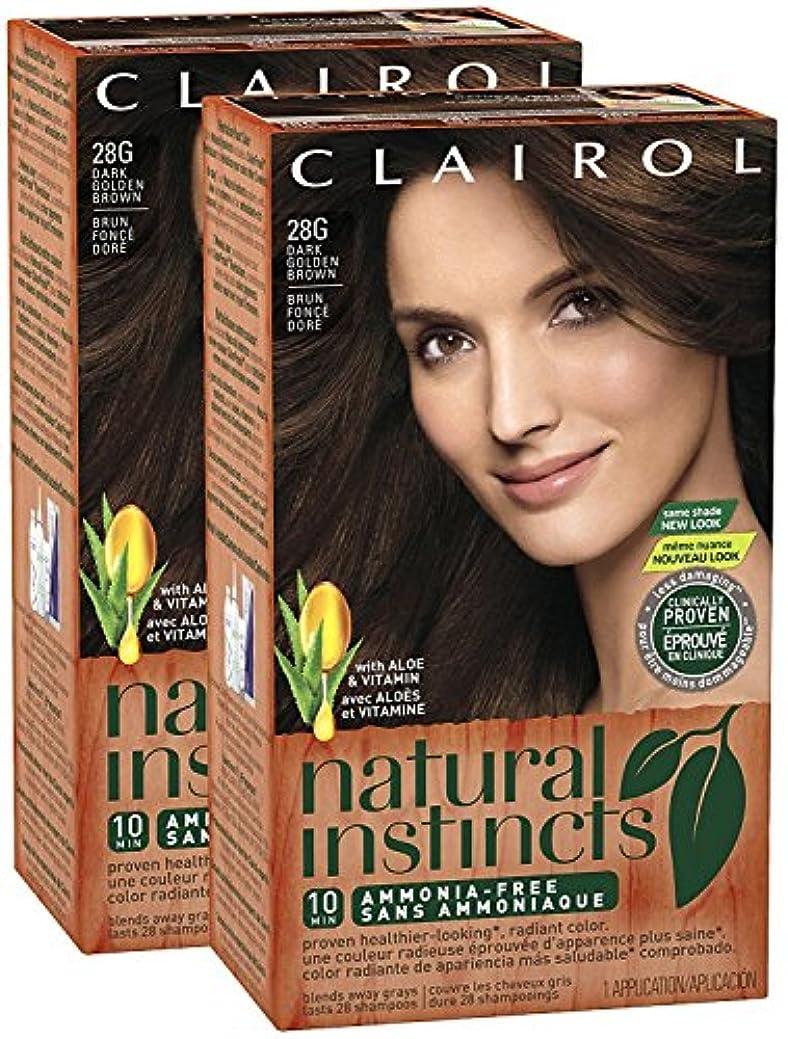 Clairol 自然の本能、028G、ゴールデンカプチーノ、ダークゴールデンブラウン、2 Pkを