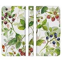 Ruuu iPhone6Plus iPhone6sPlus 手帳型 スマホ ケース カバー 水彩 フルーツ ボタニカル いちご 苺 ブルーベリー くだもの 柄 模様 花 はな 可愛い かわいい