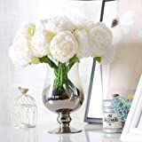 Decpro 2 Bunches Artificial Peonies, 5 Heads Silk Peony Fake Flower for Wedding Home Office Party Hotel Window Sill Decoratio