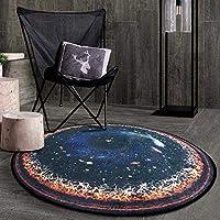 星空スカイラウンドラグ現代アートサークルカーペット北欧創造性マット用チェアシートリビングルーム寝室マルチスタイル ラグ QFLY 4 (Color : F, Size : Diameter:4'11''(150cm))