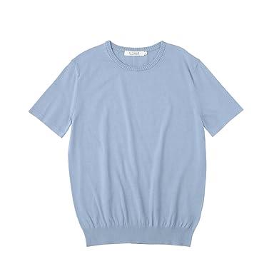 Short Sleeve Cotton Sweater F44-16901: Saxe