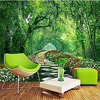 Bzbhart 森林公園緑の3 d風景の背景の壁カスタム壁画緑の壁紙-350cmx245cm