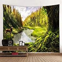 qjdndn 3Dビーチタオル滝風景美しい森ストリーム印刷壁カーペットヨガマット家の装飾タペストリー-150x130cm