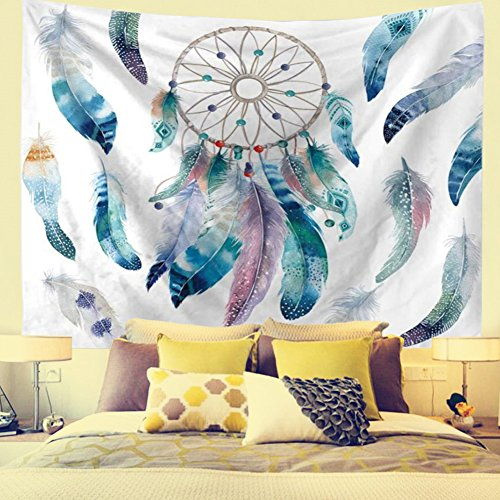 DIPPERION Dreamcatcher Tapestry Wall Hanging Dream Catcher Wall Tapestry Hippie Tapestry Colorful Tapestry Psychedelic Bohemian Feather Wall Tapestry for Bedroom Decor (Dreamcatcher, 51