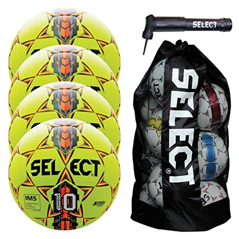 選択numero 10 Soccer Ball with Duffleボールバッグサッカーボールとハンドポンプ(パックof 4 )、イエロー、サイズ5