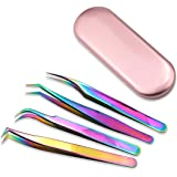 Nibiru Eyelash Extension Tweezers Set, 4 PCS Stainless Steel Curved Tip Precision Tweezers Anti-static Professional Makeup To