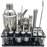 Cocktail Shaker Set with Stand,23 Pcs 750ml Cocktail Bartender Bar Tools Kit with Built-in Strainer,Double Jigger,Mixing Spoo