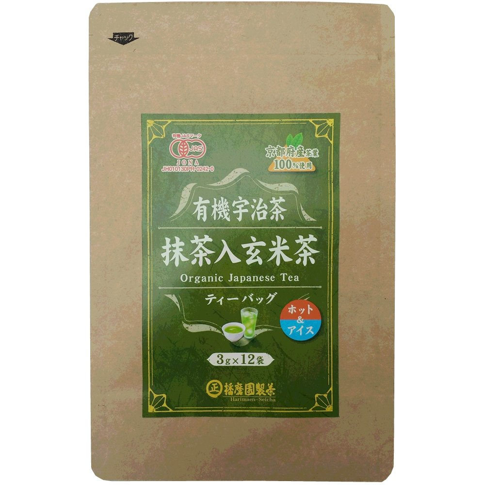 播磨園 播磨園 有機 宇治抹茶入玄米茶ティーバッグ 3g×12袋