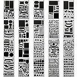 INIBUD ステンシルシート スクラップブッキング ステンシルプレート テンプレート スクラップブック アルバム デコレーション 異なる20枚セット