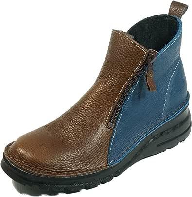 [ユリコマツモト] 日本製 ショートブーツ 本革 両ファスナー 外反母趾 歩きやすい 痛くない靴 (22cm, マルチ)