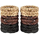 18 PCS Large Hair Ties Ponytail Holders for Thick Hair - Stretchy Elastic Hair Bands for Women and Girls - Black, Beige and Brown