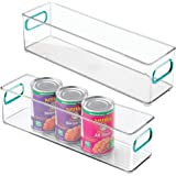mDesign Plastic Stackable Food Storage Container Bin with Handles for Kitchen, Pantry, Cabinet, Fridge, Freezer - Long Narrow