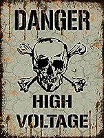 """危険高電圧メタルサインメタルサイン、スカルと骨、ノベルティ、警告サイン 12""""x16"""" D1315"""