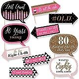 Funnyシック80th Birthday – ピンク、ブラックとゴールド – 誕生日パーティー写真ブース小道具キット – 10 Piece