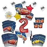 Disney Cars 2 nd BirthdayパーティーSupplies 16ゲストキットとバルーンブーケデコレーション94 PC