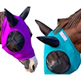 Lycra Horse Fly Mask with Ears Comfort Fit Mesh Trail Pasture Sun UV Protection (Horse, Purple)
