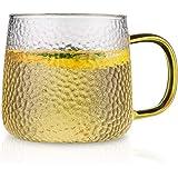 ガラスコップ ONEISALL 耐熱マグカップ 大容量 おしゃれ 320ml 飲み水 お茶 コーヒー ジュース ビール ワイングラス