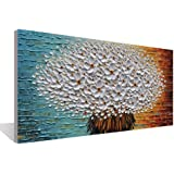 Contemporary Artwork Decorative White Flower 3D Canvas Painting to The Living Room Bedroom Restaurant Wall Art Hand Painted O