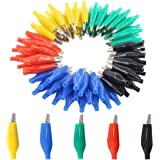 Glarks 100Pcs 1.1''/28mm Alligator Clips Crocodile Electrical Test Clamps Jumper Helper with Black/Red/Yellow/Blue/Green Prot