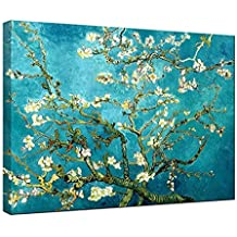 Wieco Art - Almond Blossom Modern Framed Floral Giclee Canvas Prints By Van Gogh Famous Oil Paintings Reproduction Flowers Pictures on Canvas Wall Art Ready to Hang for Bedroom Home Decorations