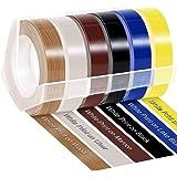 ダイモ 9mm テープ 白文字 ダイモテープ dymo tape つやあり ダイモ テープライター テープ DM0903C DM0903B DM0903M DM0903WD DM0903LB DM0903LY,6色セット 長さ3m