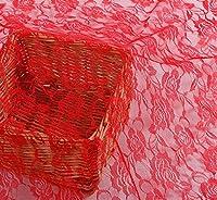【seriction】全7種 バラ柄 レース生地 幅1.5m 花柄 カラー メッシュ レース 手芸 裁縫 刺繍 材料 生地 ハンドメイド コスプレ 衣装 クラフト DIY 背景 布 目隠し (レッド 2m)