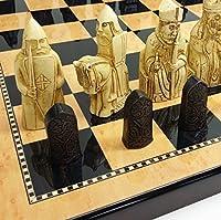 "3 1/2"" King Isle of Lewis Studio Anne Calrton (SAC) Chess Men Set W/ Large 18"" Walnut & Maple Color Board"