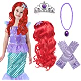 Princess Mermaid Wig Ariel Braid with Princess Tiara Necklace Gloves Not Including Dress Princess Mermaid Ariel Dress Up Hall